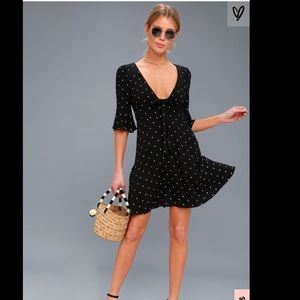 FP All Yours Black Polka Dot Tie-Front Dress